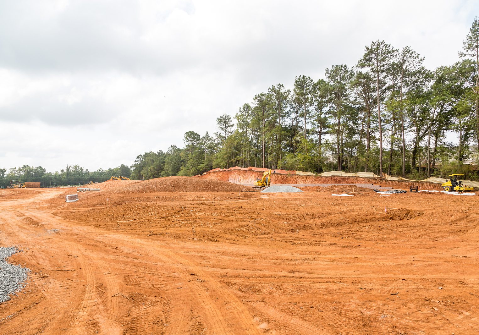 Graded dirt for new homes at a construction site